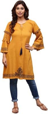 Aks Women Embroidered A-line Kurta(Yellow, Black)