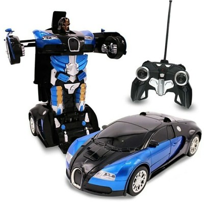 ZHOMCOLLECTION TAANSFORMER REMOTE CONTROL ON BUTTON BAGATTI CAR Blue(Blue)