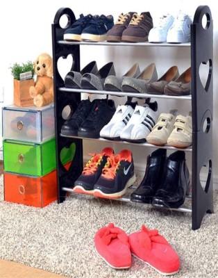 CMerchants OPEN Cabinet-4Layer Plastic Collapsible Shoe Stand(Black, 4 Shelves)