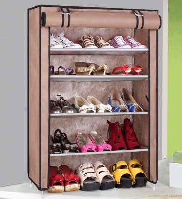 CMerchants Classic-BROWN03-Stand Metal Shoe Stand(Brown, 4 Shelves)