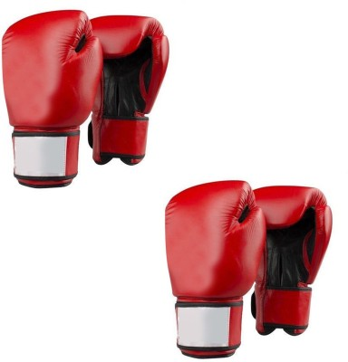 Lots International Fight Punch Hand Gloves PU Leather (2 Pair) Boxing Gloves(Red)