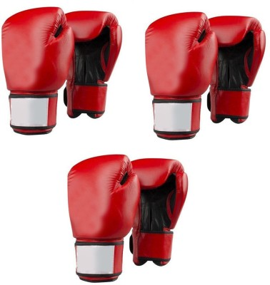 Lots International Fight Punch Hand Gloves PU Leather (3 Pair) Boxing Gloves(Red)