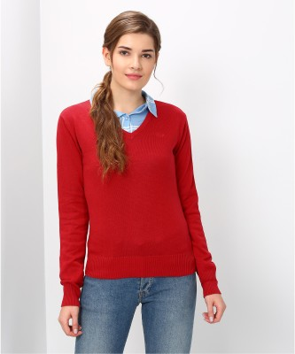 Flying Machine Solid Round Neck Casual Women Purple Sweater