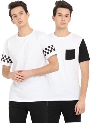 Nailed It Printed, Solid Men Round Neck White T-Shirt(Pack of 2) Flipkart