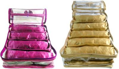 Aadhya Combo Of 4 & 5 Rods Bangle box Jewellery Organiser Pouches Storage Case (Pink,Golden) Vanity Box(Beige,Pink)