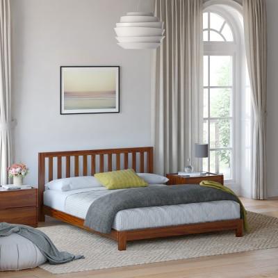 Flipkart Perfect Homes PureWood Acacia Queen Low Bed(Finish Color - Teak)