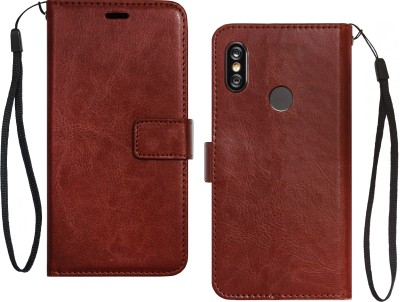 Febelo Flip Cover for Mi Redmi Note 5 Pro(Brown, Cases with Holder, Artificial Leather)