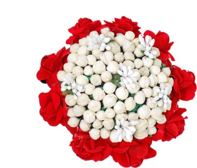 Majik Beautiful Full Bun Bridal Hair Gajra For Women Wedding White With Red Flowers Bun(Multicolor) Flipkart