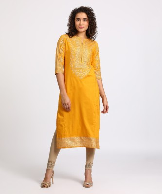 Vishudh Women Printed Straight Kurta(Yellow)