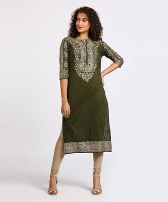 Vishudh Women Printed Straight Kurta(Green)