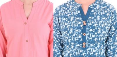 Blinkstar Casual Printed Women Kurti(Pack of 2, Pink, Light Blue)