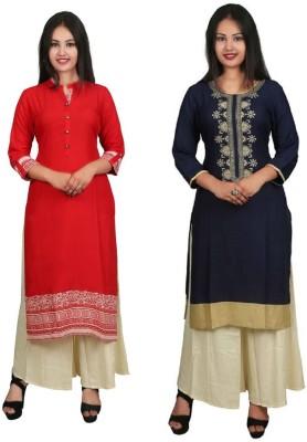 Fashionmandi Casual Printed Women Kurti(Pack of 2, Multicolor)