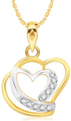 VK Jewels Dual Heart Gold-plated Cubic Zirconia Alloy, Brass Pendant