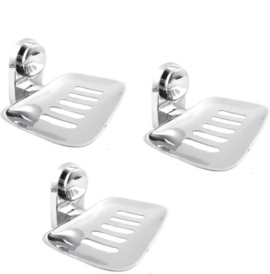 RoyaL Indian Craft Set of 3 High Quality Steel Slice Cut Soap Holder(Silver)