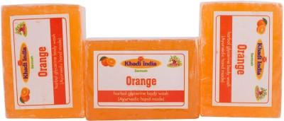 Khadi India Santosh Orange Harbal Glycerin Body Wash Soap (Ayurvedic Hand Made) (Pack of 3)(3 x 125 g)