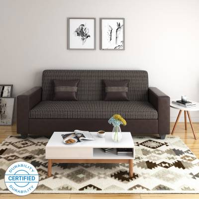 Perfect Homes by Flipkart Crete Leatherette and Fabric 3 Seater Sofa  (Finish Color - Brown)