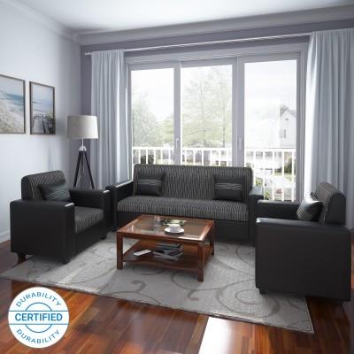 Westido Manhattan Leatherette 3 + 1 + 1 Brown Sofa Set