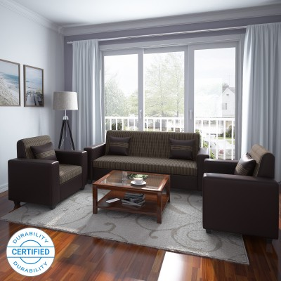 Flipkart Perfect Homes Crete Leatherette and Fabric 3 + 1 + 1 Brown Sofa Set