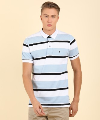 French Connection Striped Men Polo Neck White T-Shirt at flipkart