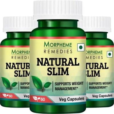 Morpheme Remedies Natural Slim  Garcinia, Triphala, Guggul  Pack of 3 180 No Morpheme Remedies Vitamin Supplement