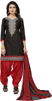 Fashion Ritmo Cotton Printed, Embroidered Salwar Suit Dupatta Material(Un-stitched)