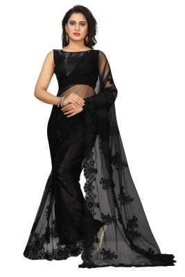 Availkart Embroidered Bollywood Net Saree(Black)