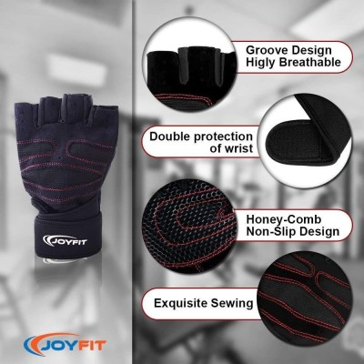 """JoyFit Weightlifting Gloves with 12\"""" Wrist Wrap Support for Gym, Powerlifting, Workout, Weightlifting, Crossfit, Fitness, Sports for Men and Women Gym & Fitness Gloves (L, Black)"""