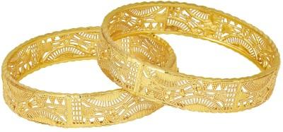 Shining Jewel Brass Gold-plated Bangle Set(Pack of 2)