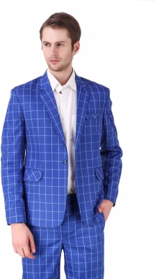 One Click Checkered Single Breasted Party, Formal, Casual Men Blazer(Blue)