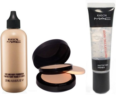 KASCN ORIGINAL HIGH QUALITY FOUNDATION COMPACT PRIMER COMBO FOR ALL SKIN TONE(Set of 3)
