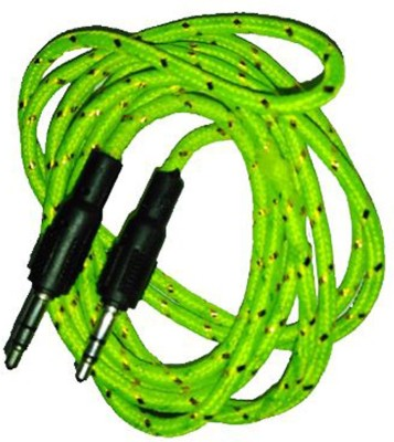 Gali Bazar As33 2 m AUX Cable(Compatible with Mobile, Laptop, Tablet, Mp3, Gaming Device, Green, One Cable) at flipkart