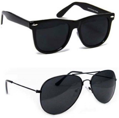 MAXX Wayfarer, Aviator Sunglasses(Black, Black)