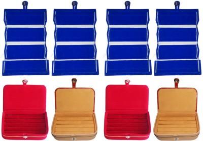 ultimatefashionista Set of 8 velvet Vanity case Ring and Earring storage travelling Folder Box Vanity Box(Multicolor)