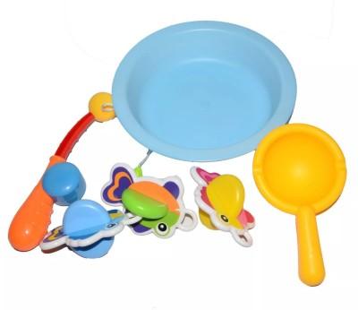 Emob Sea Aquarium Rod and Reel Fishing Bathtime Fun Bath Toys Playset for Toddlers Bath Toy(Multicolor)