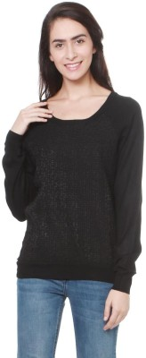 Flying Machine Solid Round Neck Casual Women