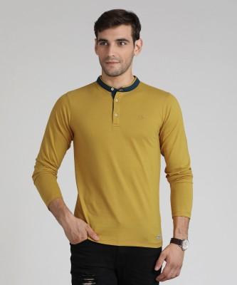 Peter England University Solid Men's Mandarin Collar Yellow T-Shirt
