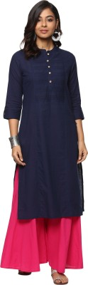 Billion Rang Nitya Solid Women Straight Kurta(Dark Blue)