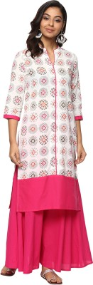 Billion Rang Nitya Printed Women Straight Kurta(White, Pink)