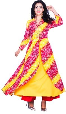 Mokshi Women Embroidered Frontslit Kurta(Yellow, Pink)