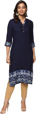 Billion Rang�Nitya Printed Women Straight Kurta(Dark Blue)