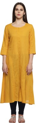 Rangmanch by Pantaloons Women Solid Frontslit Kurta(Yellow)