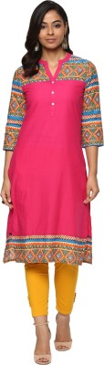 Billion Rang Nitya Printed Women Straight Kurta(Pink)