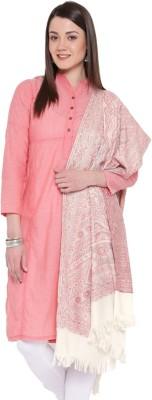 Weavers Villa Cotton Blend, Pure Wool Woven Women Shawl(White)