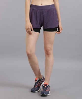 ADIDAS Striped Women Blue Sports Shorts at flipkart