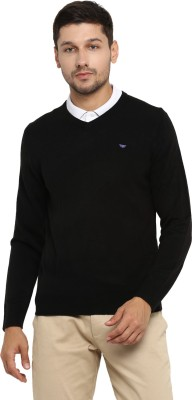 Red Tape Solid V-neck Casual Men's Black Sweater