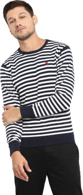 Red Tape Striped Round Neck Casual Men's Blue Sweater