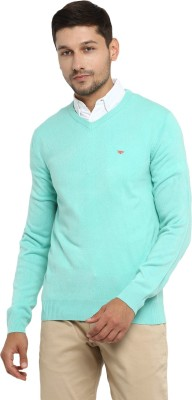 Red Tape Solid V-neck Casual Men's Green Sweater