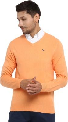 Red Tape Solid V-neck Casual Men's Orange Sweater