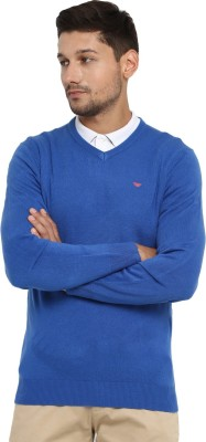 Red Tape Solid V-neck Casual Men's Blue Sweater