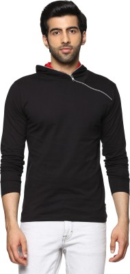 Billion PerfectFit Solid Men Hooded Black T-Shirt at flipkart